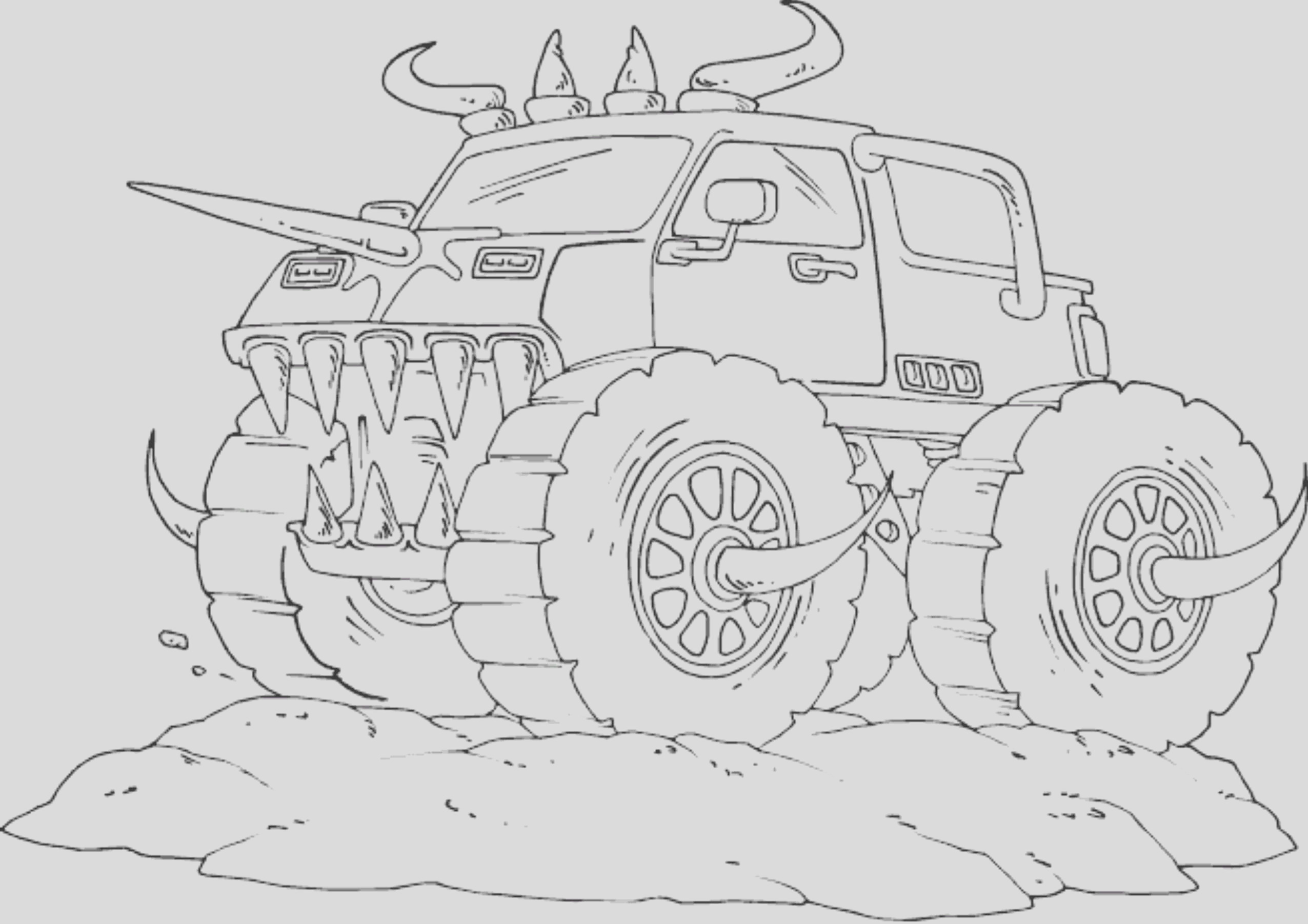 drawing monster truck coloring pages kids