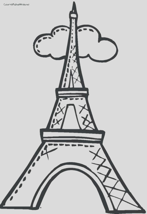 cartoon drawing of the eiffel tower