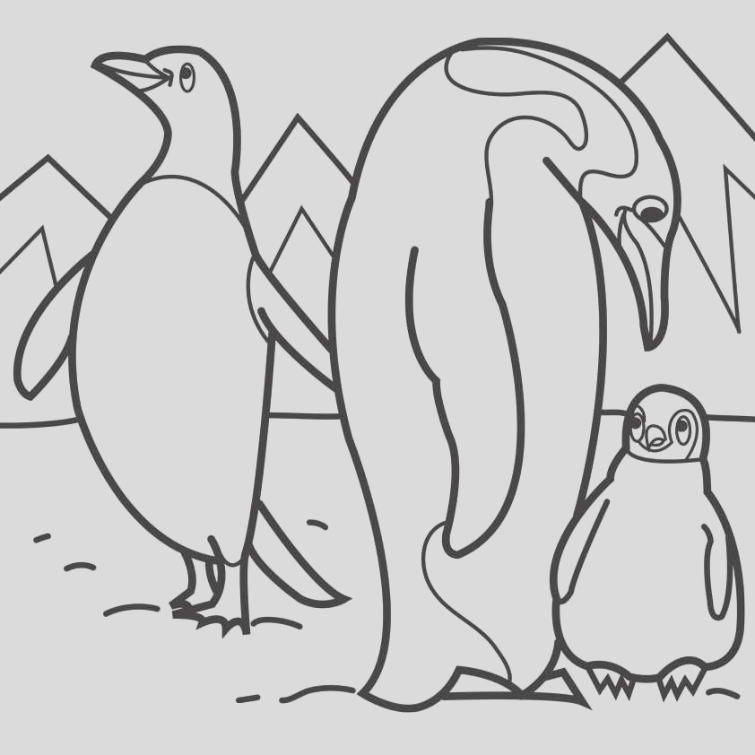 emperor penguin coloring page for kids