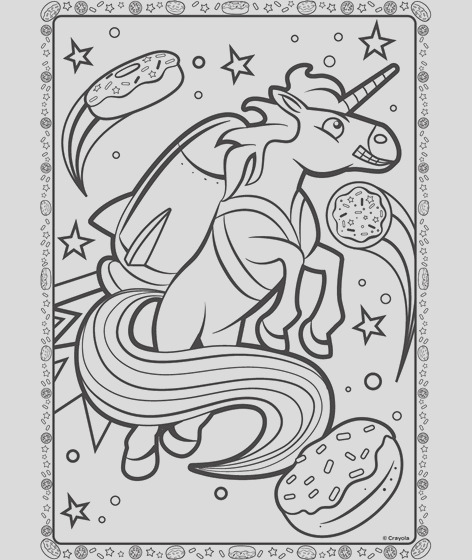 unicorn in space coloring page