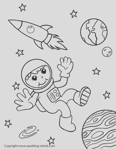 astronaut in outer space coloring page
