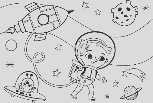 space coloring page for kids gm