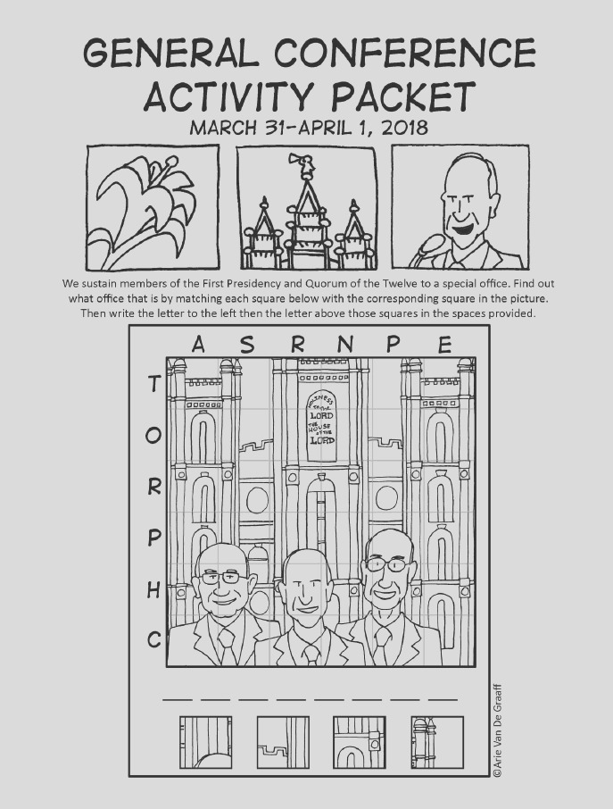 free general conference activity coloring activity packets april 2018