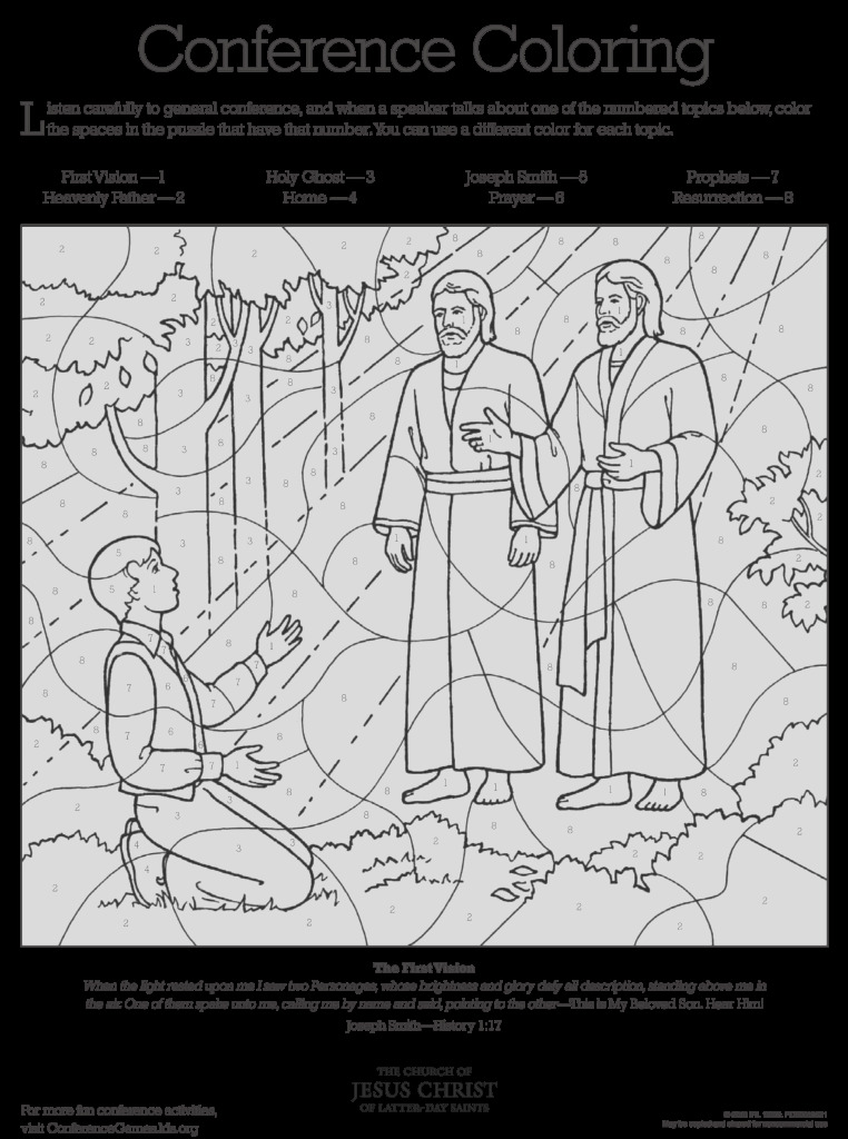general conference activity coloring sheets favorites