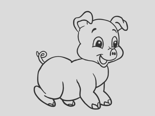 baby pig laughing coloring page