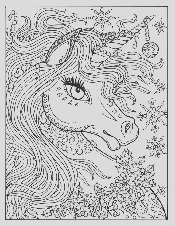 unicorn christmas coloring page adult
