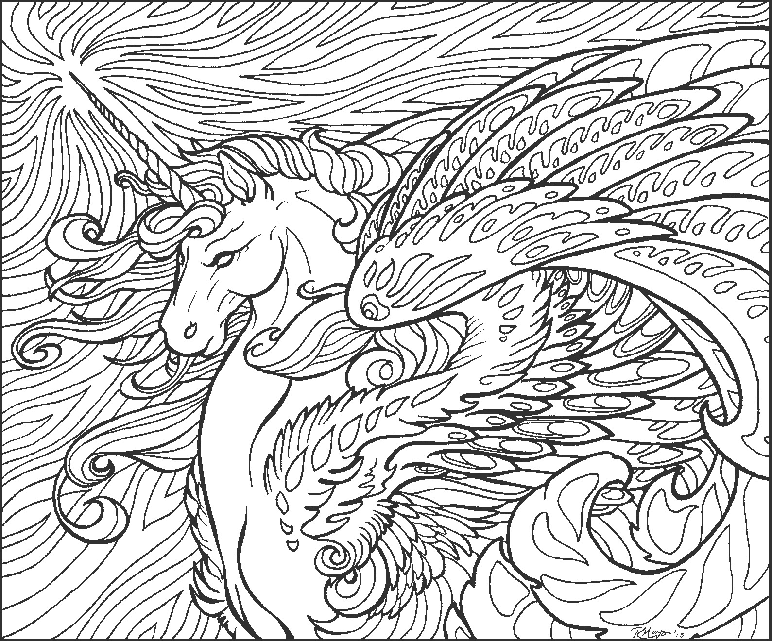 Star Wave Unicorn lineart
