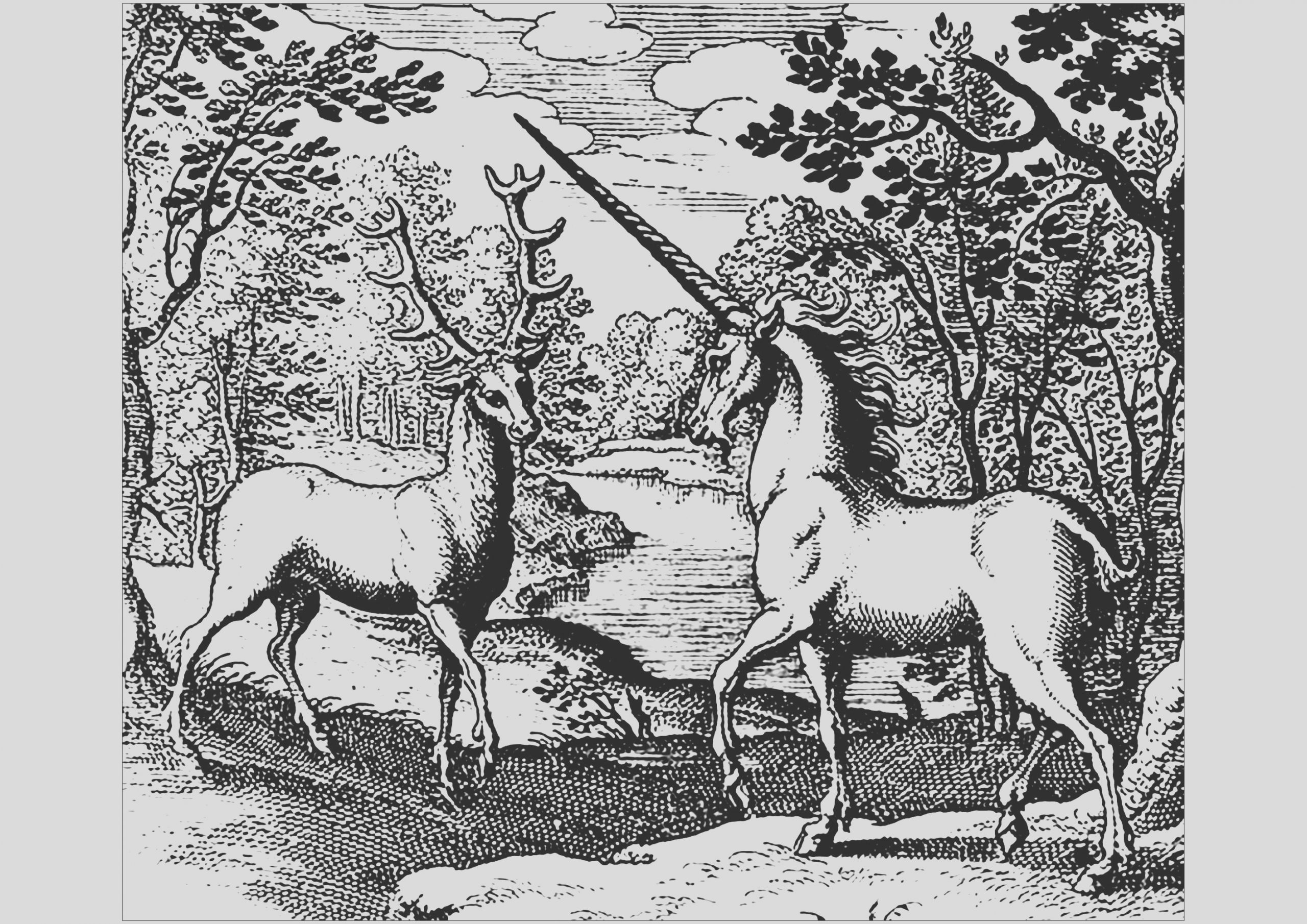 image=unicorns coloring woodcut unicorn and stag 1