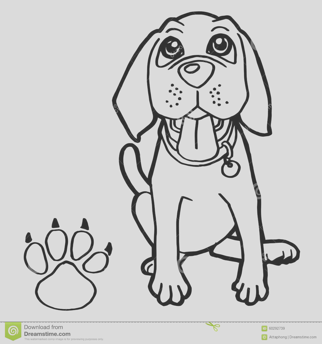 stock illustration dog paw print coloring pages vector image image