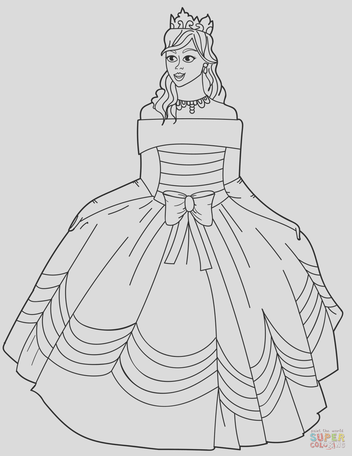 princess in ball gown of the shoulder dress