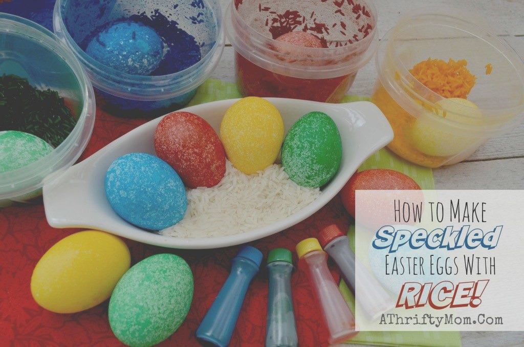 mess free easter eggs made with dry rice and food coloring