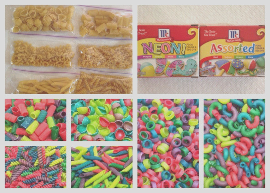 color dried pasta with food coloring