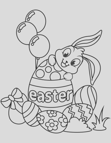 cute easter bunny and eggs