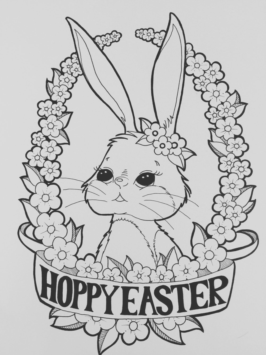 digital coloring page happy easter bunny