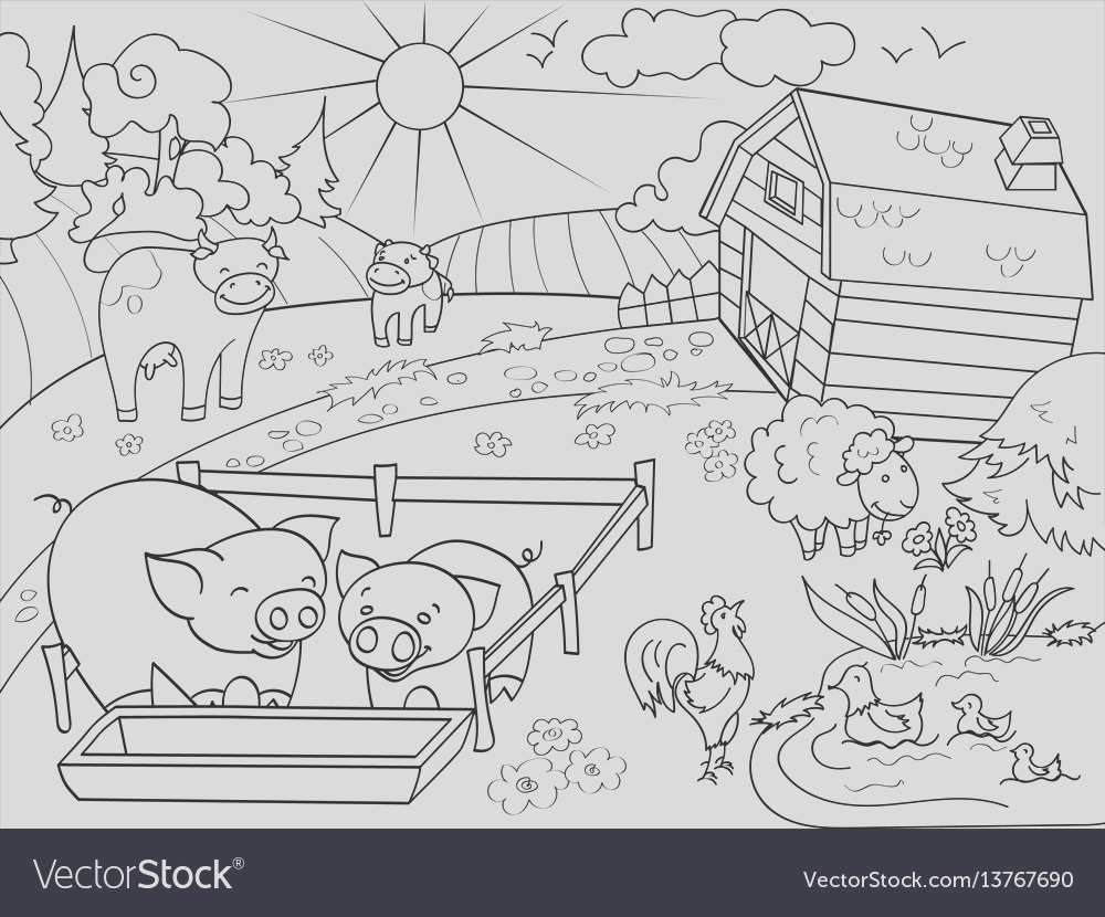 farm animals and rural landscape coloring vector