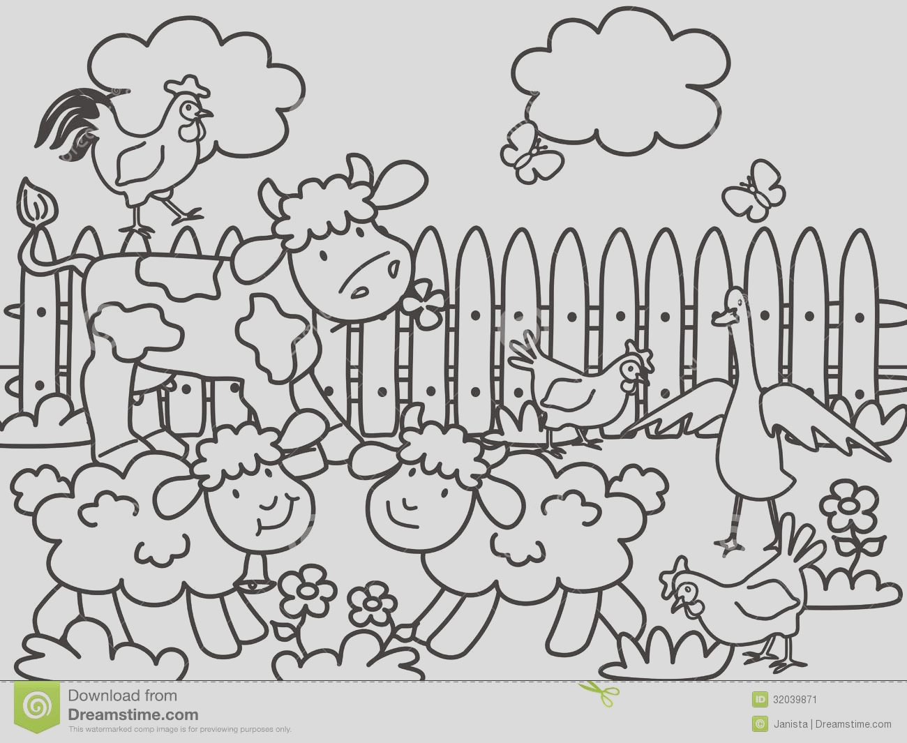 stock image farm coloring books children life animals meadow image