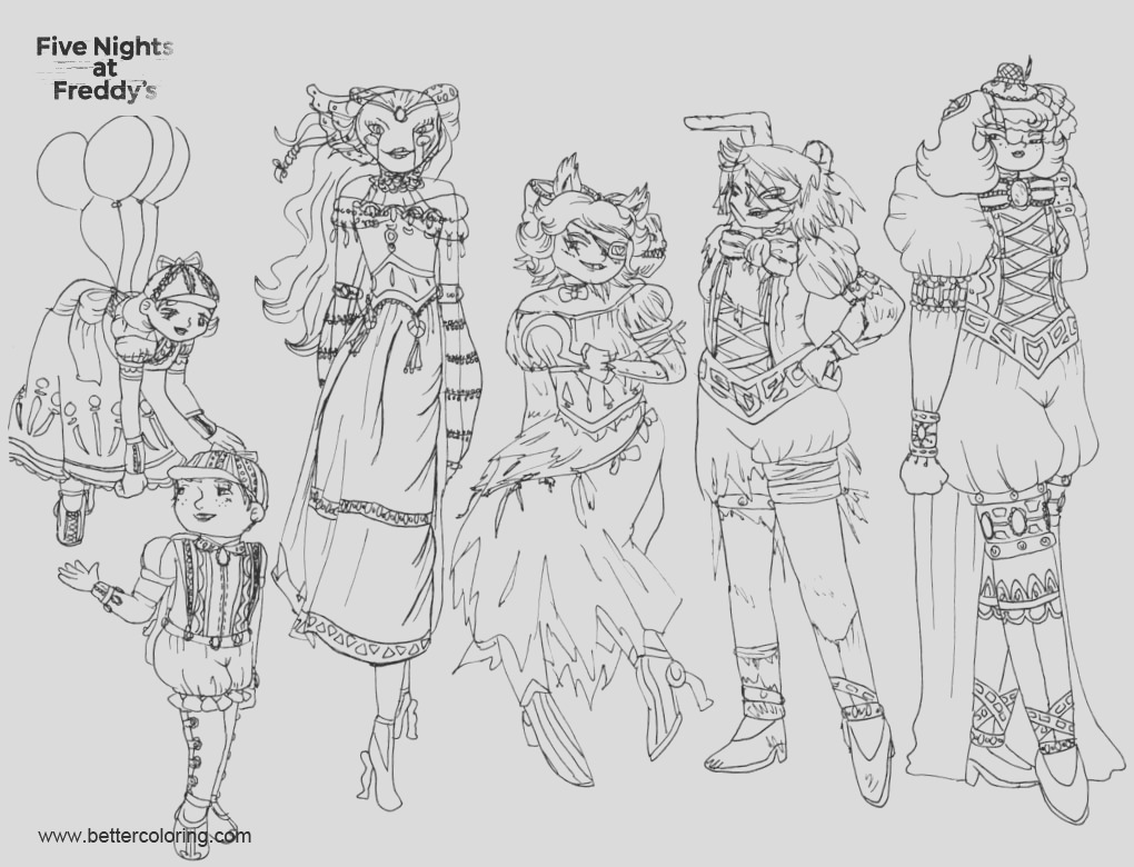 fnaf coloring pages girls inked by kittybags