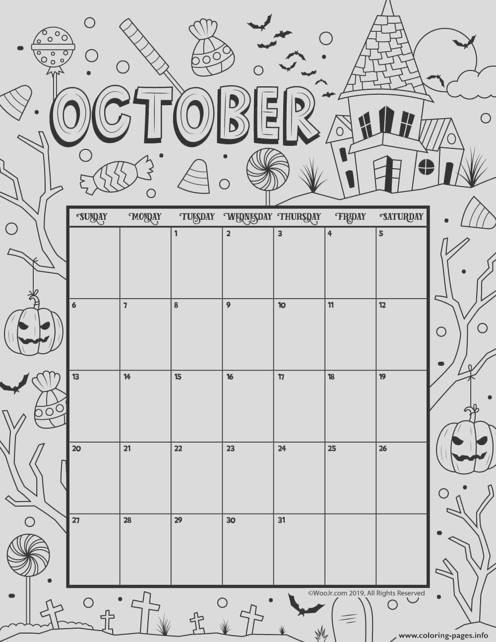 october coloring calendar 2019 printable coloring pages book