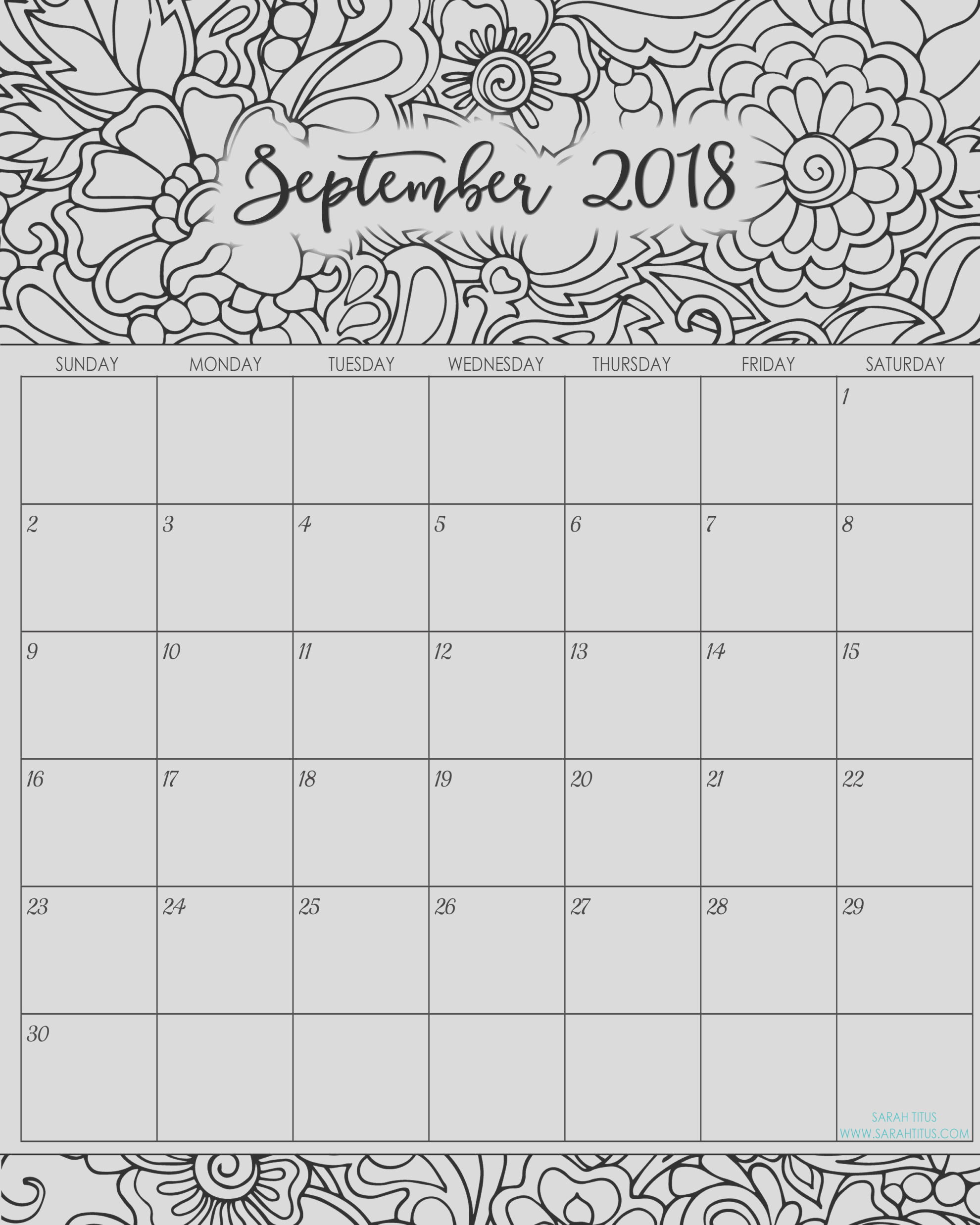 2018 monthly coloring calendars printables
