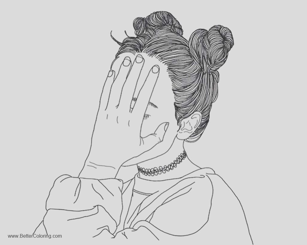girly coloring pages hand on face