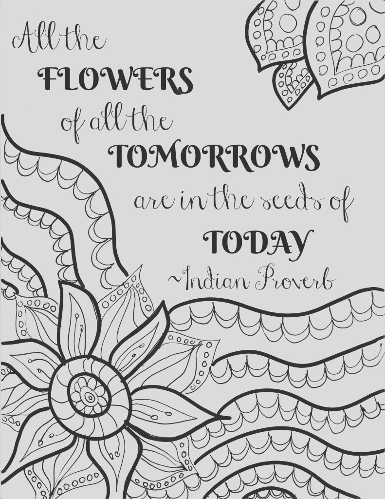 two free printable flower quote coloring pages