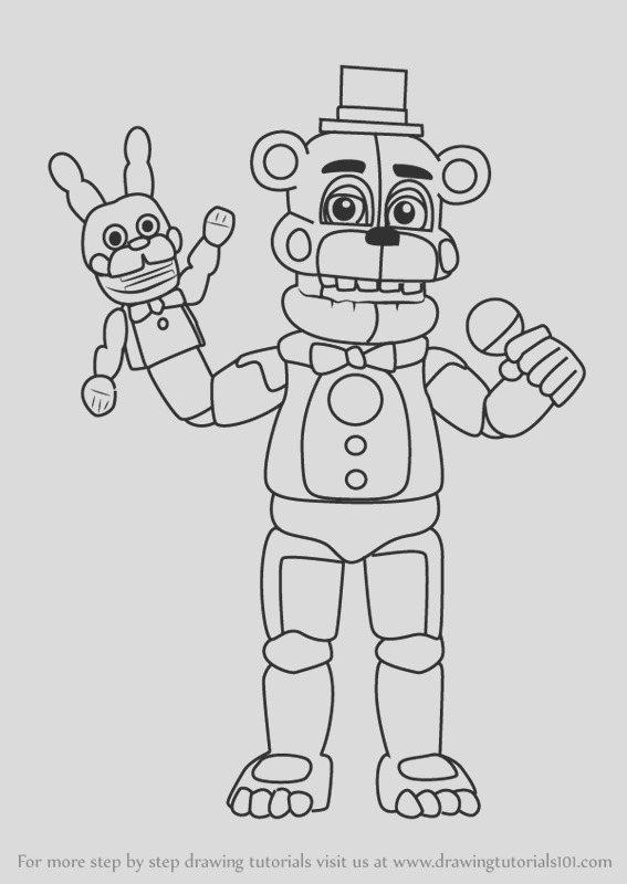 how to draw funtime freddy from five nights at freddys