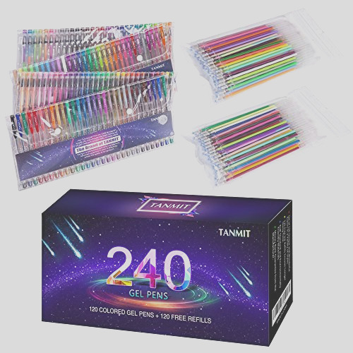 tanmit 240 gel pens set 120 colored gel pen plus 120 refills for adults coloring books drawing art markers no duplicates