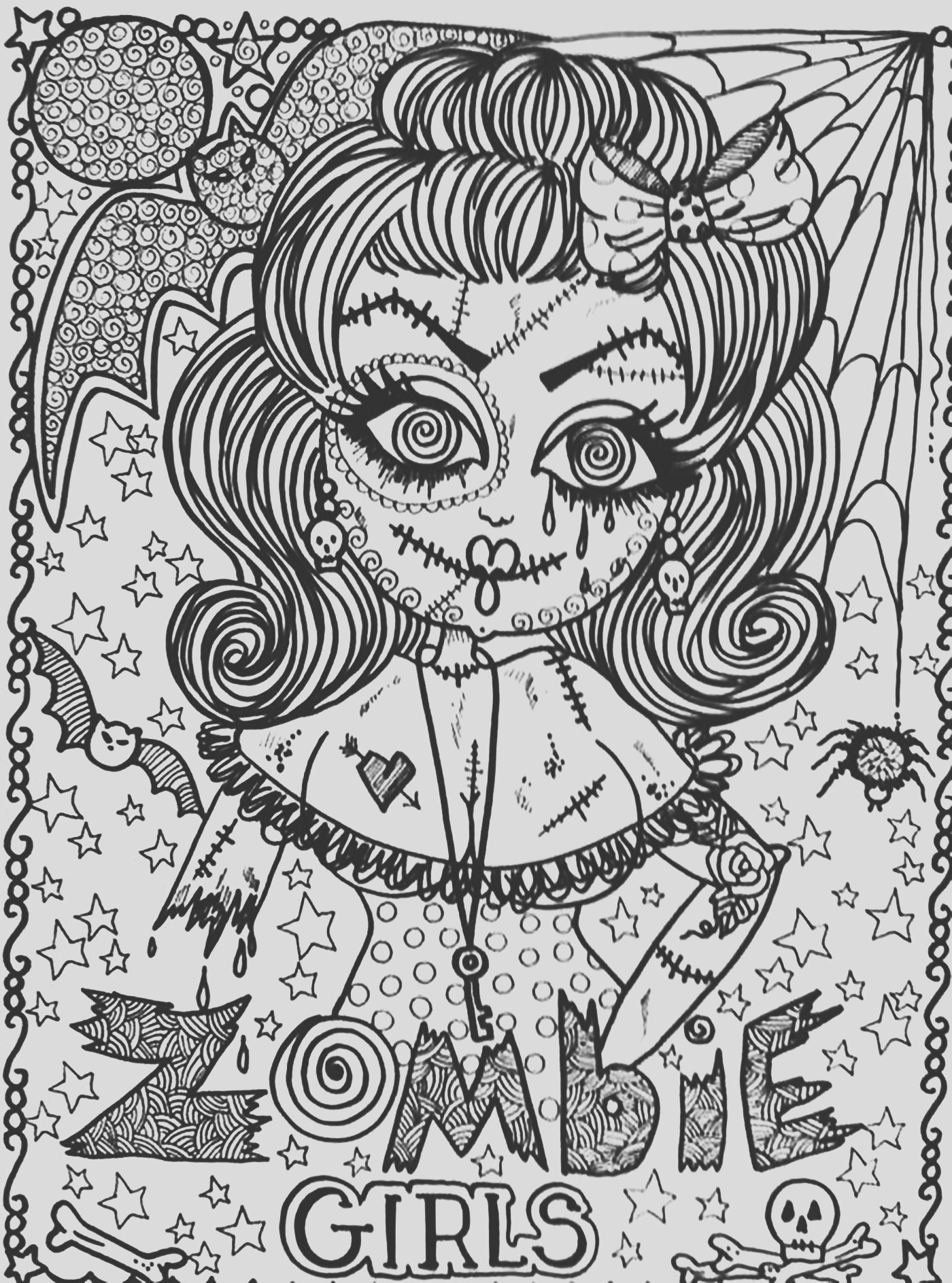 halloween adult coloring pages image=events halloween coloring adult halloween zombie girl 1