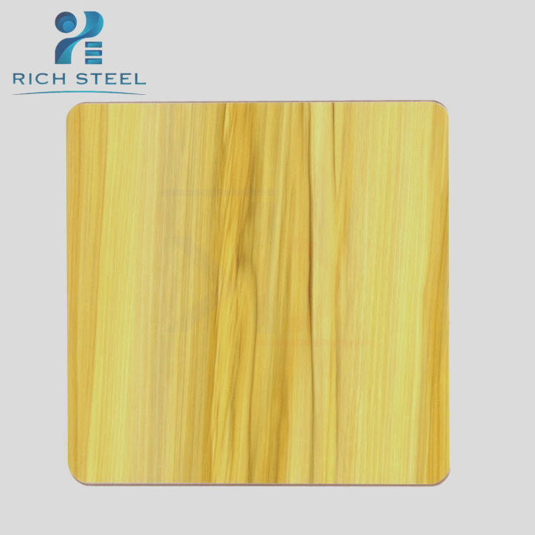 heat coloring stainless steel textured steel plate ss304 wood grain stainless steel decorated sheet