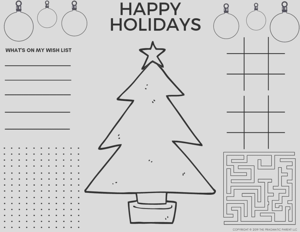 free printable christmas coloring pages printable christmas placemats