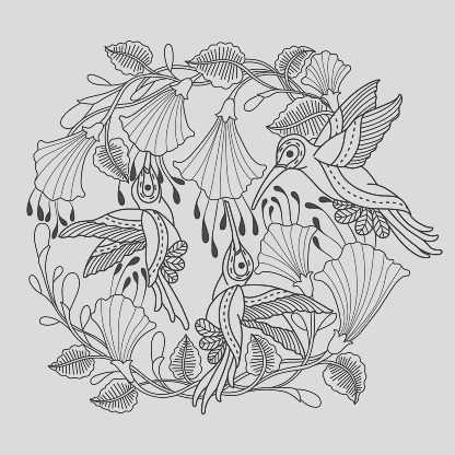hand drawn hummingbirds and flower for adult coloring page gm