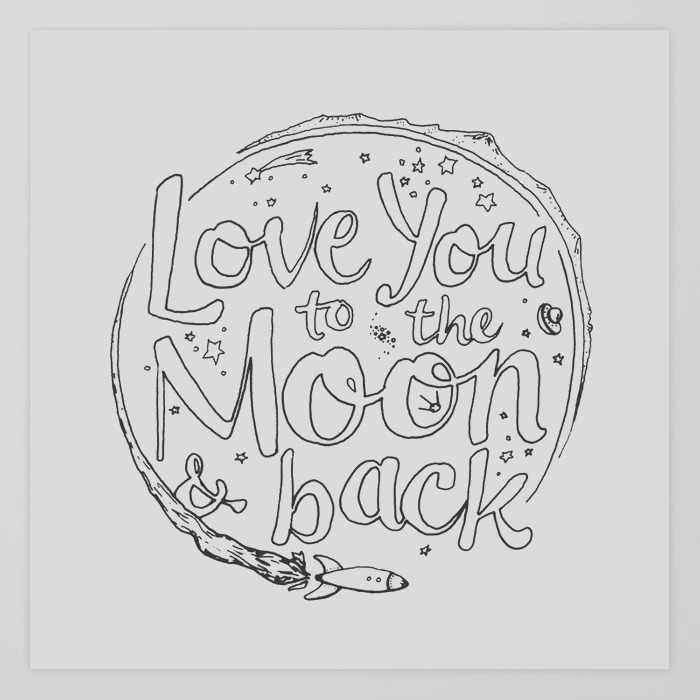love you to the moon backcoloring page print