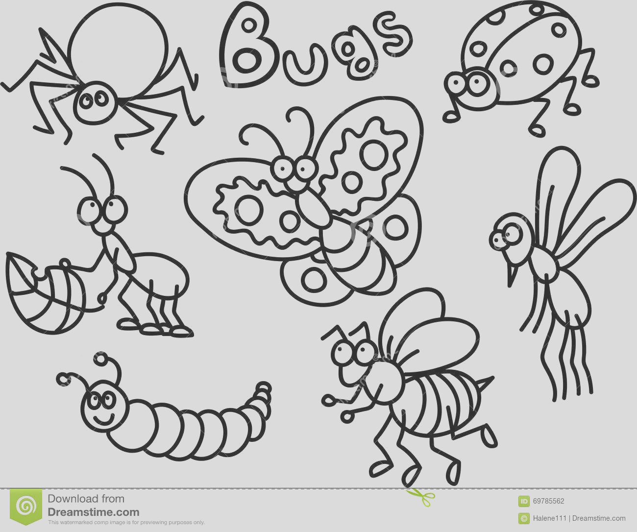 stock illustration bugs coloring page children lot cute cartoon style image