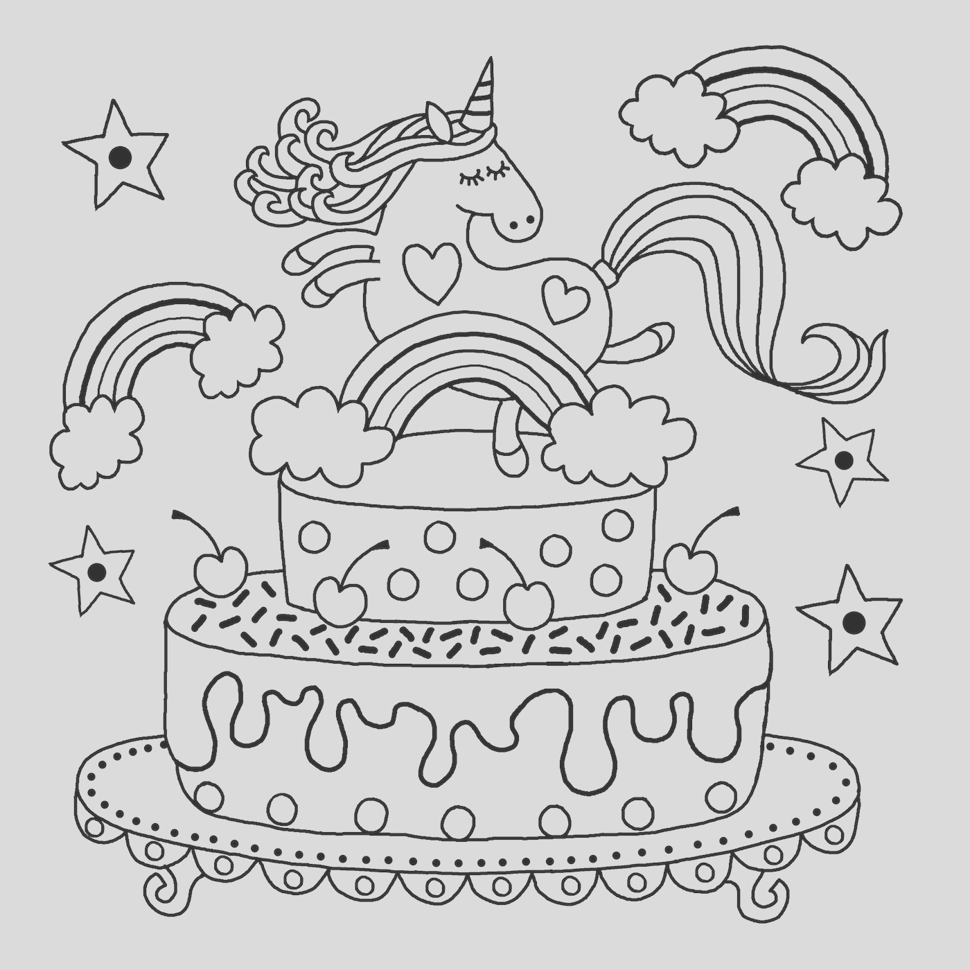 unicorn colouring book pages 2