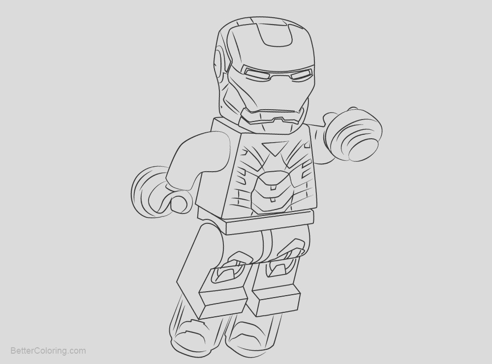 chibi lego iron man coloring pages