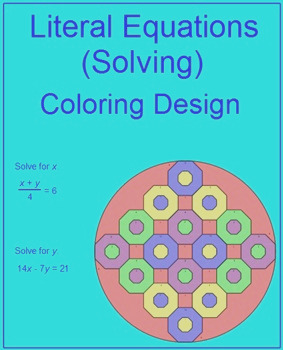 Literal Equations Solving 1 Coloring Activity