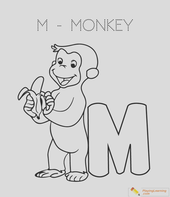 coloring sheet i=alphabet easy coloring m is for monkey