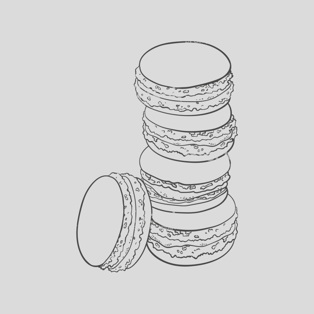hand drawn stack of colorful macaron macaroon almond cakes gm