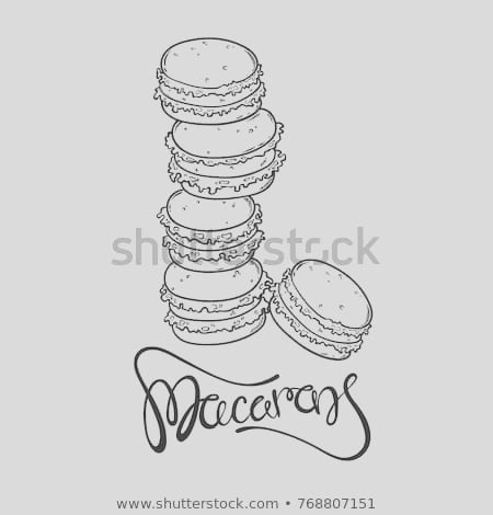 vector cartoon doodle macaron cakes sketch