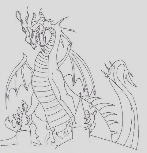 maleficent dragon sketch templates