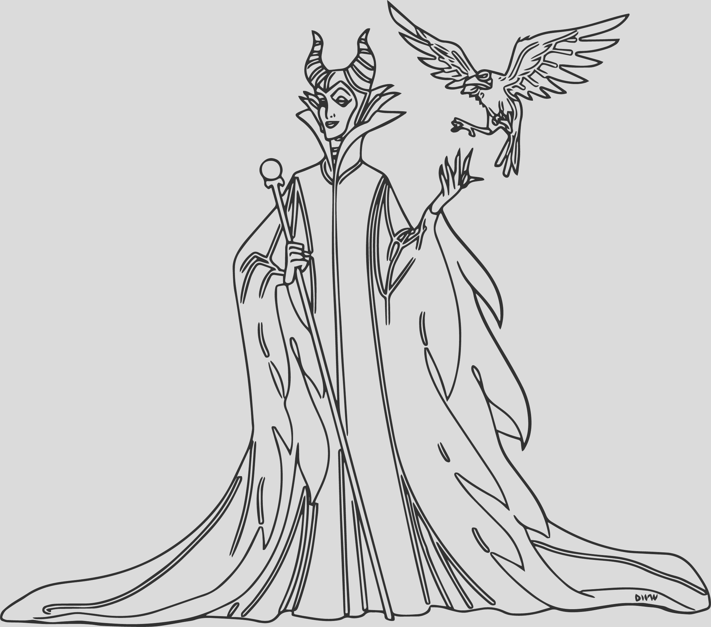 maleficent e diablo coloring page