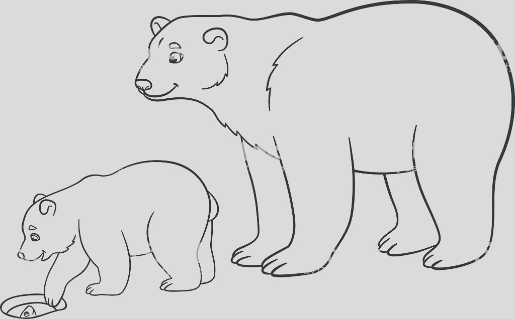 coloring pages mother polar bear with her baby gm