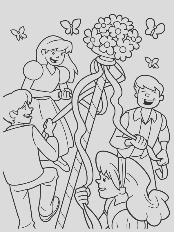 maypole dancing happily with friends on may day coloring pages