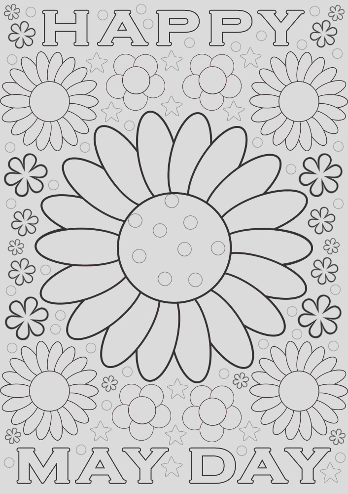 may day colouring flowers