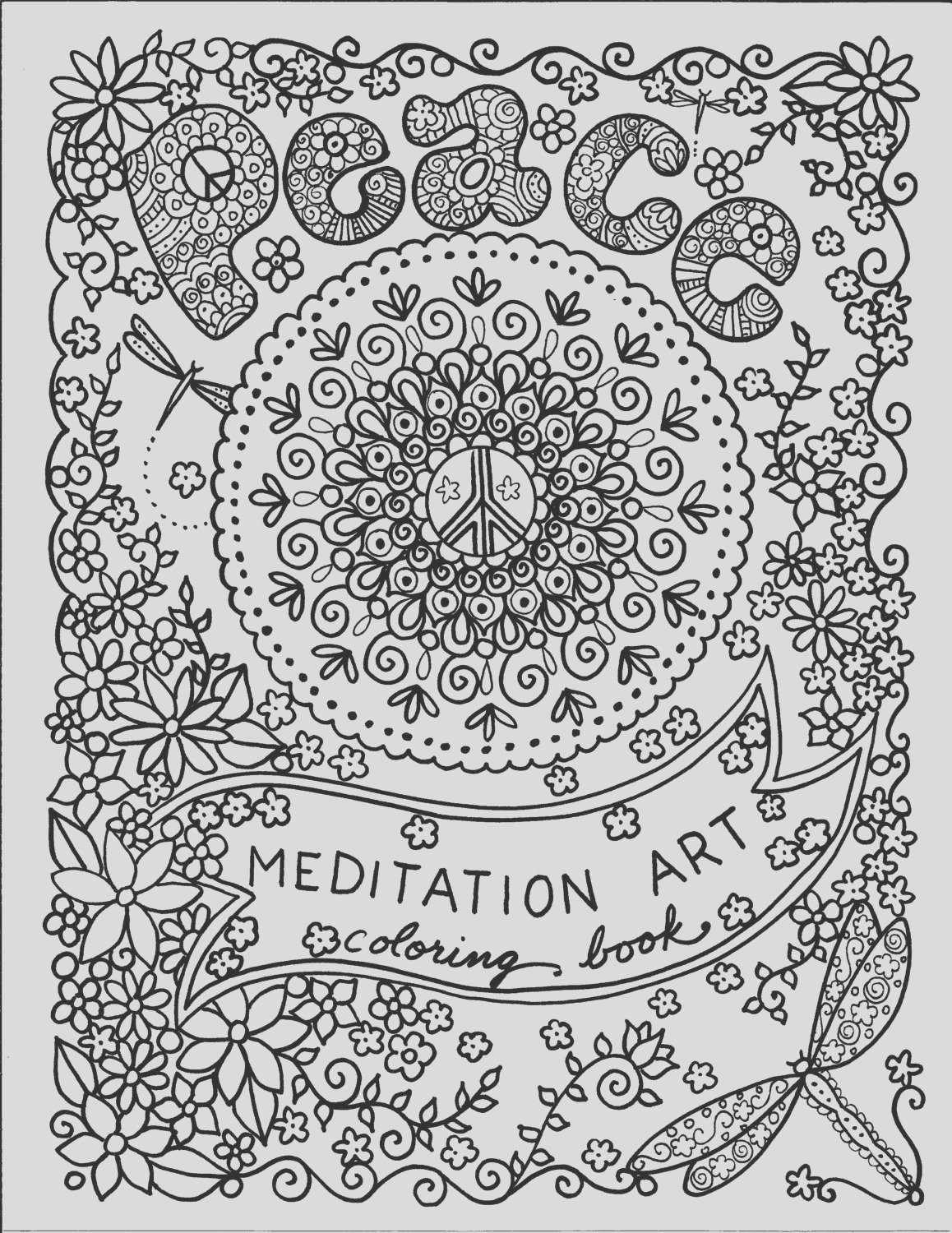 coloring book peace meditation art to