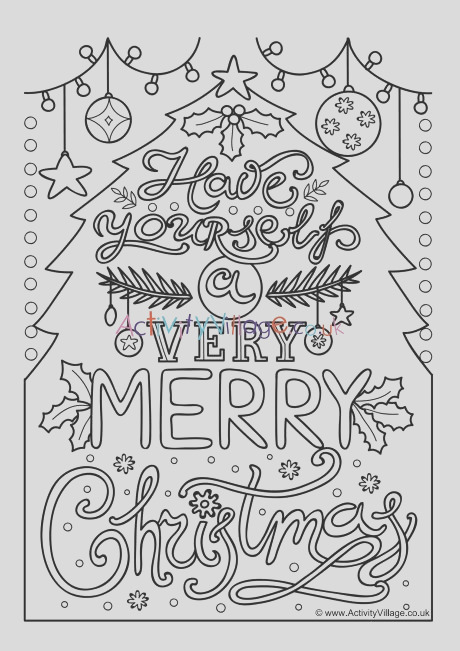 very merry christmas colouring page