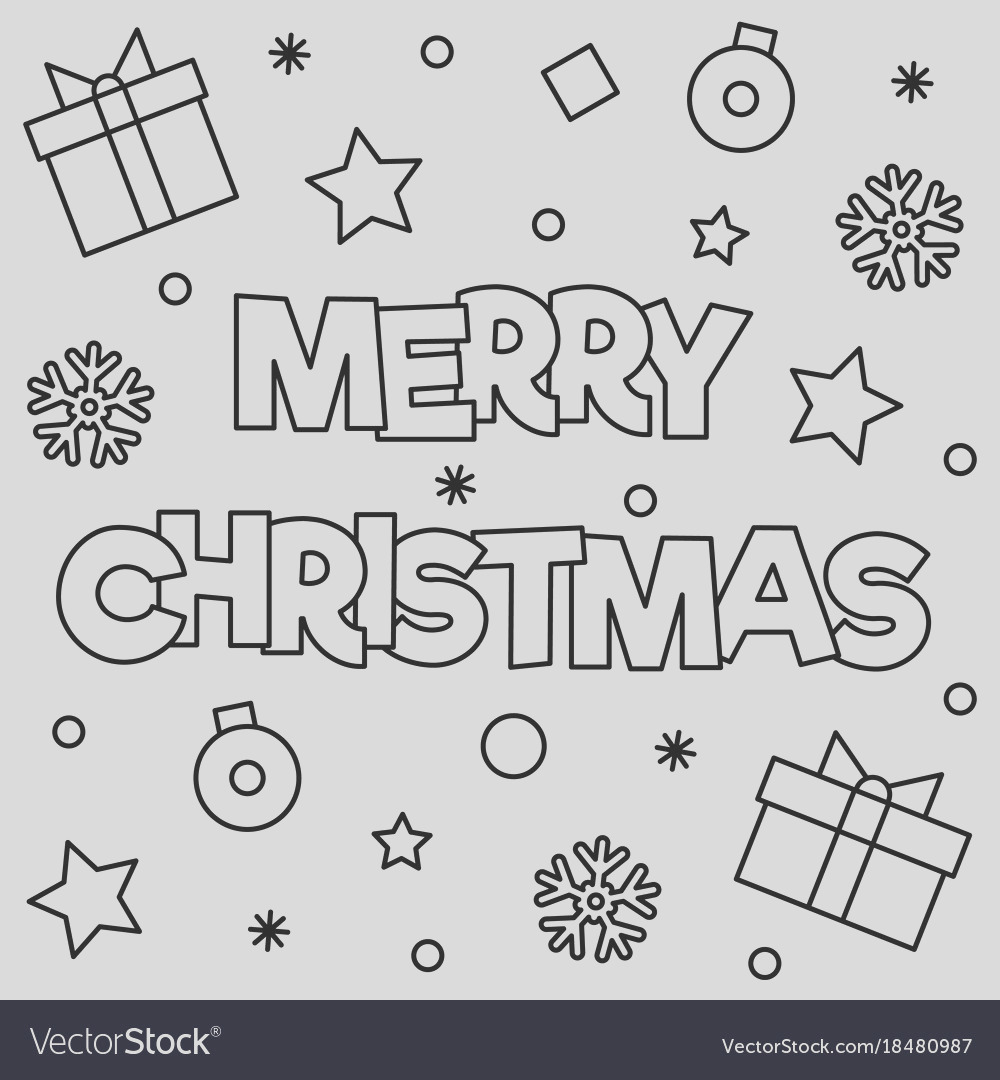 merry christmas coloring page vector