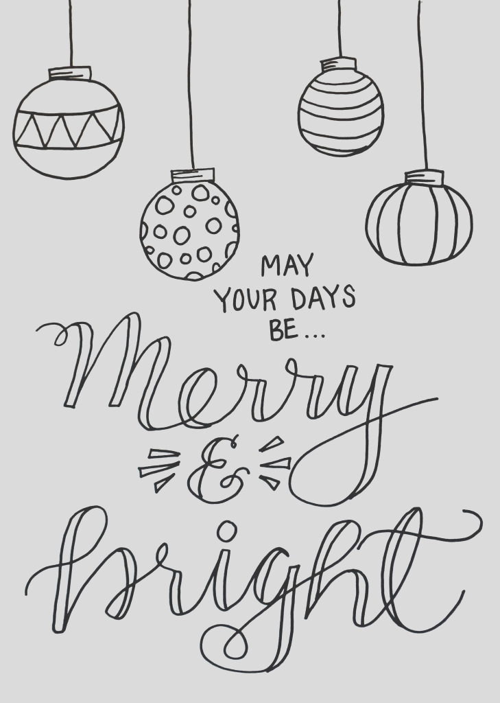 Merry and Bright Christmas Coloring Page