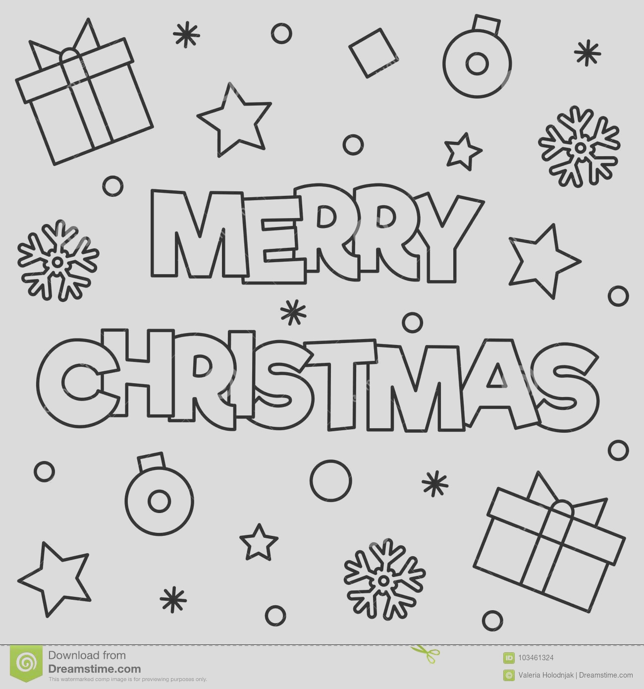 merry christmas coloring page black white vector illustration image