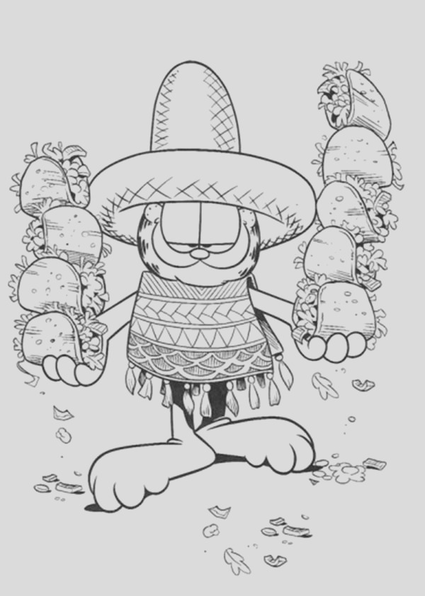 garfield holding mexican food at mexican fiesta coloring page